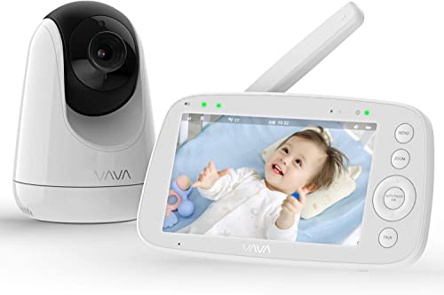 """Baby Monitor, VAVA 720P 5"""" HD Display Video Baby Monitor with Camera and Audio, IPS Screen, 480ft Range, 4500 mAh Battery, Two-Way Audio, One-Click Zoom, Night Vision and Thermal Monitor product image"""