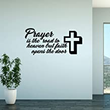 N.SunForest Wall Decal Prayer is The Road to Heaven Vinyl Sticker Wall Art Home Decor