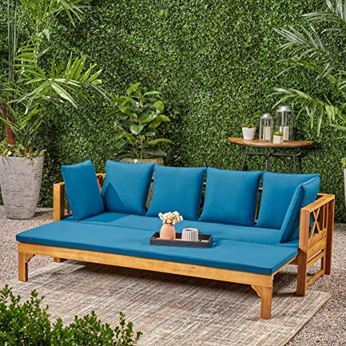 UKN Long Beach Outdoor Extendable Acacia Wood Daybed Sofa Blue Green Natural Rustic Fabric Cushion Included Water Resistant