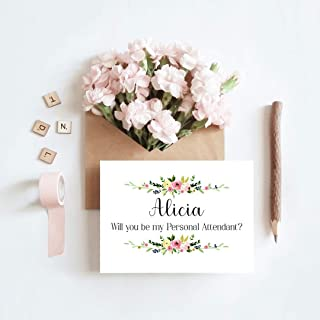 Personalized wedding card, Will you be my personal attendant, Personal attendant proposal, Wedding cards, Cards measure 4x5.5. Choose your envelope color