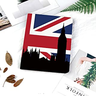 Printed New IPad 9.7 Inch 2018/2017 Case,Premium PU Leather Business Slim Folding Stand Folio Cover with Auto Wake/Sleep,Multiple Viewing Angles,Union Jack,Houses of the Parliament Silhouette on UK Fl