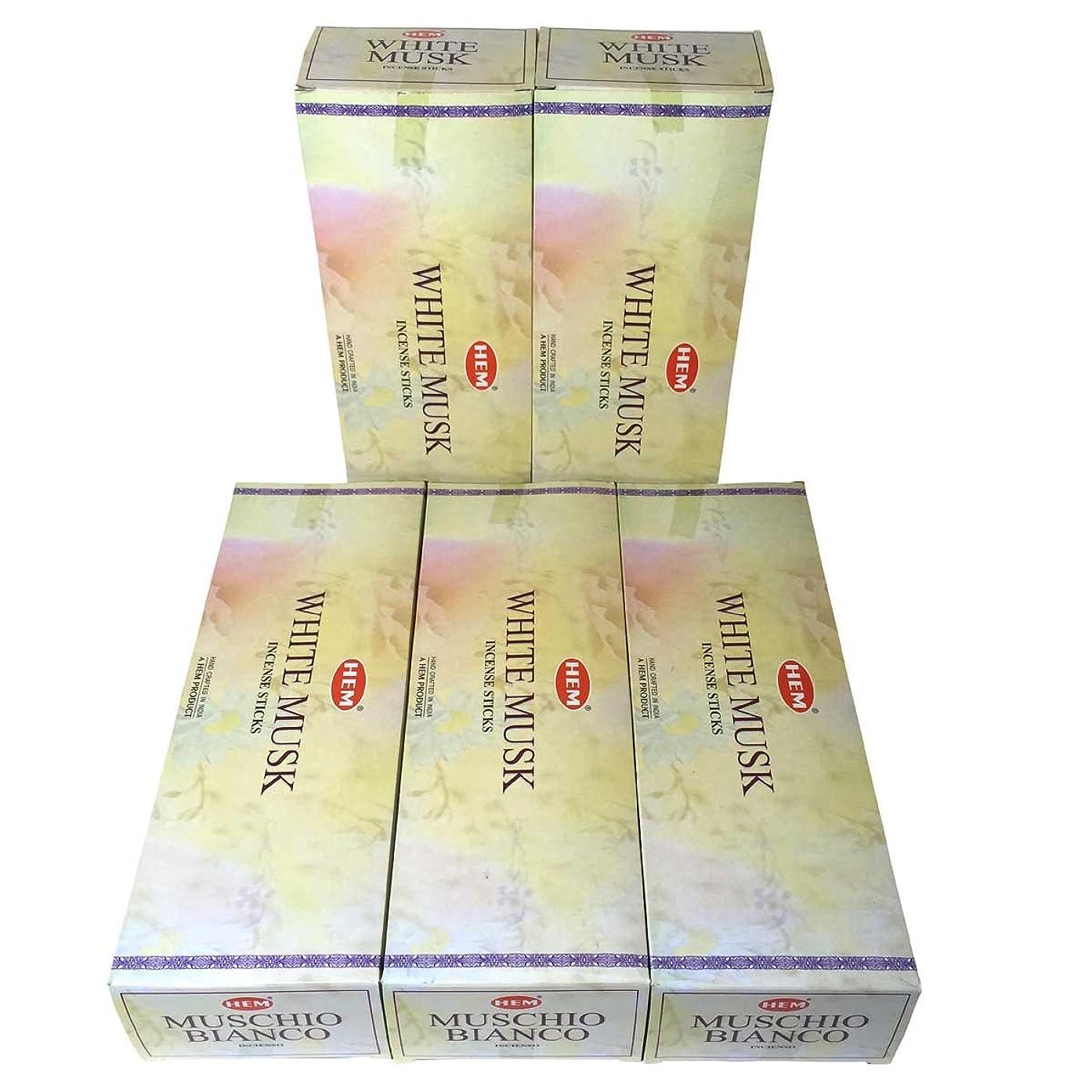 精神永久寸法HEM ホワイトムスク香 スティック 5BOX(30箱)/HEM WHITE MUSK/ インド香 / 送料無料 [並行輸入品]