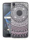 Sunrive Für BlackBerry DTEK50 Hülle Silikon, Transparent Handyhülle Schutzhülle Etui Hülle Backcover für BlackBerry DTEK50(TPU Blume rosa)+Gratis Universal Eingabestift