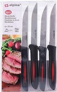 Alpina - Juego de 6 cuchillos para cortar carne de acero inoxidable