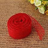 Cinta de encaje 10 m 4.5cm para decoración de la boda decoración DIY Craft, Arpillera(rojo)