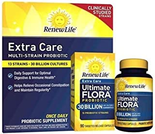 Renew Life Extra Care Multi-Strain Probiotic 13 Strains - 30 Billion Cultures (90 Capsules) Clinically Studied Strains (Gluten, Dairy and Soy Free) Optimal Digestive and Immune