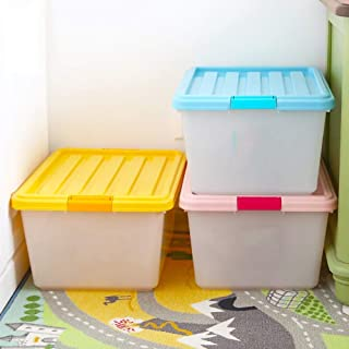 MU Bois Solide de boîte de Rangement portative de ménage, 3 Paquets de Jouet d'habillement en Plastique épaissis avec la n...