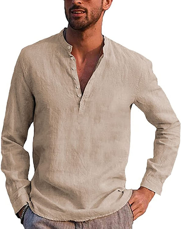 FUNEY Men's Cotton Linen Henley Shirt Long Sleeve V Neck Yoga Pullover Breathable Tops Hippie Casual Beach Plain T Shirts