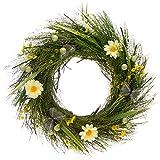com-four® Corona de Pascua con Flores y Mariposas - Corona de Mesa Decorativa - Corona de Puerta...