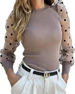 Camiseta Manga Larga para Mujer Blusa Crop Tops con Manga Transparente de Lunares y Cuello Alto Mujer Bodysuit Clubwear Ro...