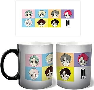 Jacobera 10 oz Kpop BTS Heat Sensitive Mug, Cartoon Bangtan Boys Funny Coffee Mug, Color Changing Tea Mug Ceramic Cup(Bangtan Boys)