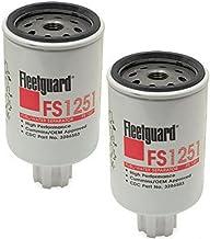 FS1251 Fleetguard Fuel Water Sep (Pack of 2), Replaces Cummins 3286503, 3843760, Donaldson P550248, Baldwin BF1226