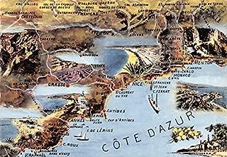 Map Cote D'Azur France Postcard