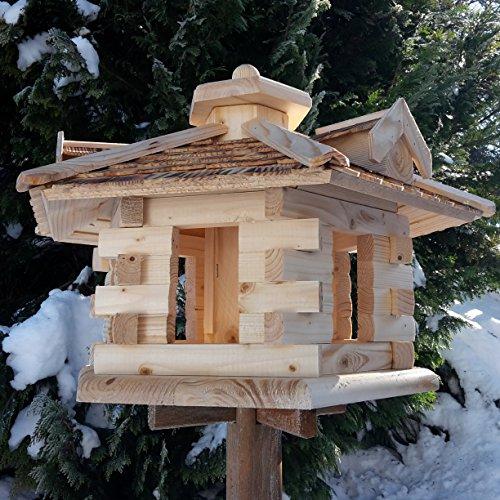 Qualitäts Vogelhaus mit Holzschindeln 6 Eck lasiert Vogelhäuser-Vogelfutterhaus großes Vogelhäuschen-aus Holz Wetterschutz (Natur) - 3