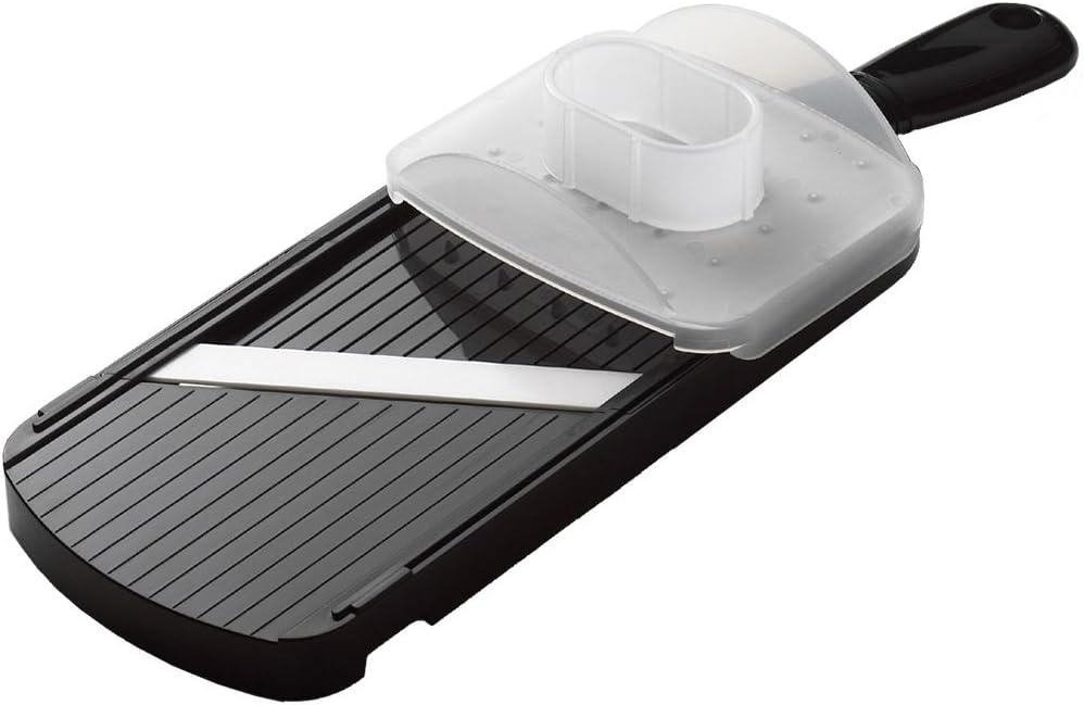 Kyocera CSN-152-NBK Mandoline Slicer, Doble Filo, Cuchilla de cerámica de Zirconia Afilada, Incluye guardamanos, Ligero, Apto para lavavajillas, Negro, Plastic
