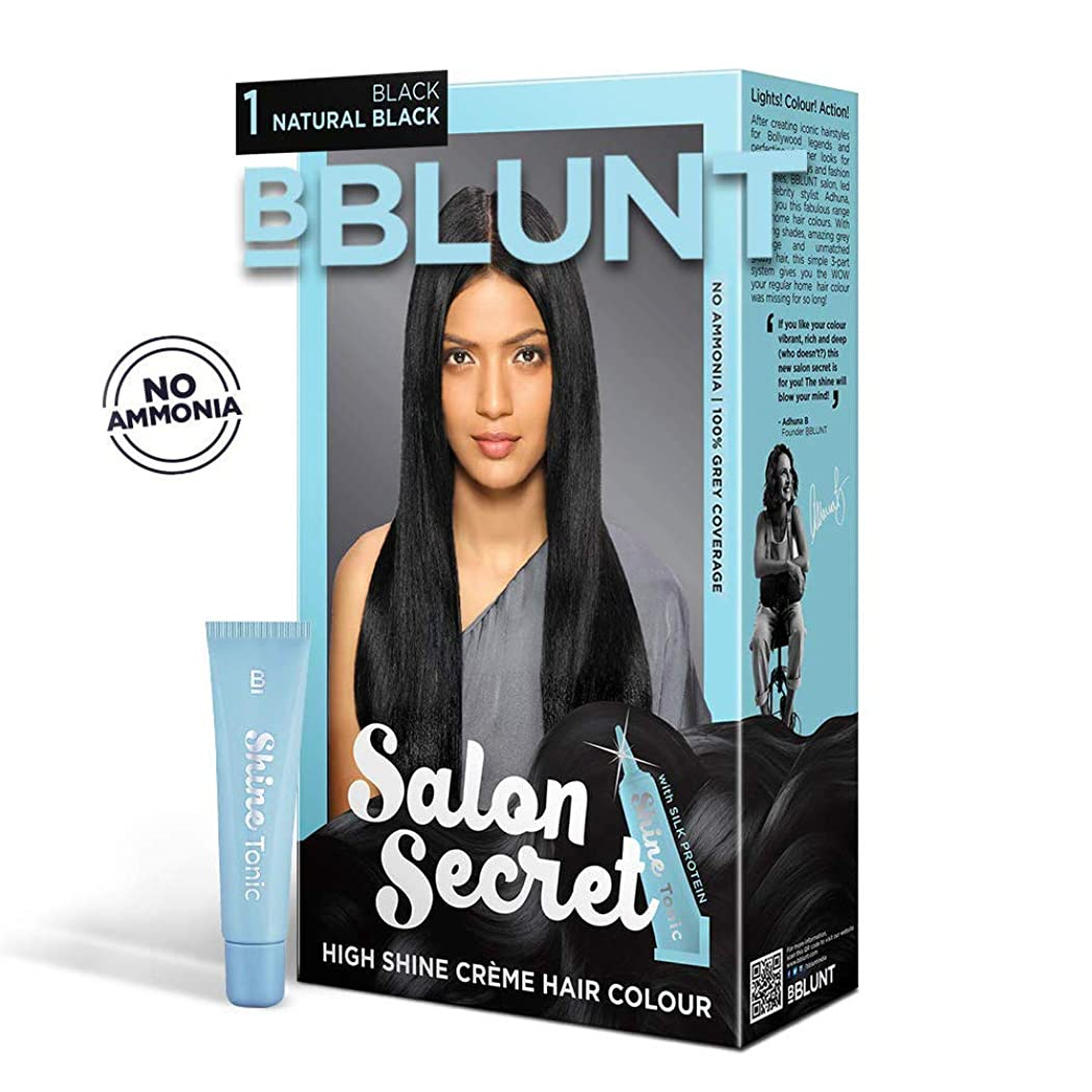 不機嫌そうな作りますのためにBBLUNT Salon Secret High Shine Creme Hair Colour, Black Natural Black 1, 100g with Shine Tonic, 8ml