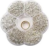 TOAOB 1500 Piezas 4 a 10 mm Mixto Tamaño Plata Anillos de Salto Abiertos de Metal para Fabricación de Joyas