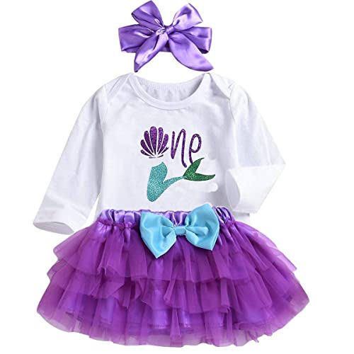 c1622eb15294 3PCS Toddler Baby Girls Outfit One Mermaid Romper Top+Tutu Skirt + Headband  Clothes Set