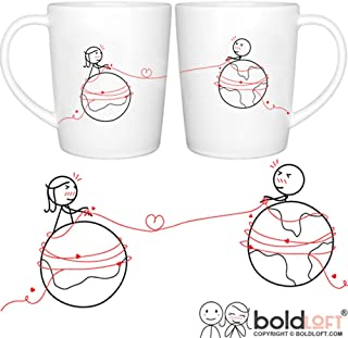BOLDLOFT You Are Worth Every Mile His and Hers Coffee Mugs- Long Distance Relationships Gifts, Long Distance Mugs, Valentines Gifts for Boyfriend for Girlfriend, LDR Gifts, His and Hers Couples Gifts