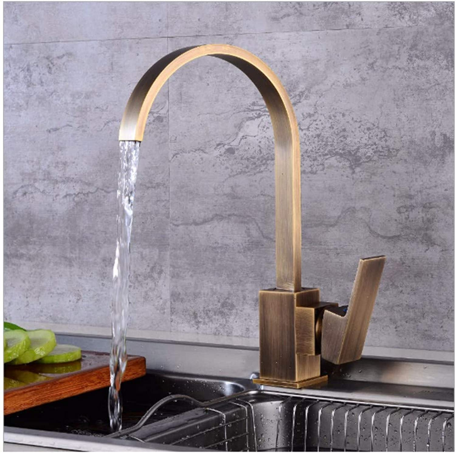 Faucet Retro Drawing Kitchen European Style Brass Faucet With Waterfall And Hose Pure Copper Vintage Curve High Water Tap Washbasin Mixer Basin Sink Bathroom Single Spout 1 Lever Handle