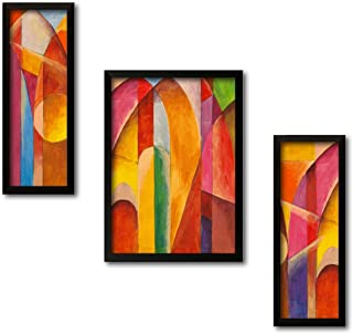Printelligent Set of 3 Wall Painting with Frames Abstract Theme Painting Wall Art Hanging Design-B