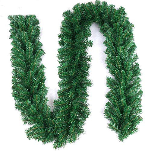 Rui Long Christmas Pine Branch Garland Festive Holiday Décor | Realistic Pine Branches | Poseable Artificial Pine Needles | Classic Christmas Decorations | 9ft,280 Branches (1PCS) Green