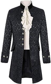 Fueri Mens Steampunk Tailcoat Vintage Coat Victorian Jacket Gothic Costume Medieval Pirate Viking Renaissance Formal Tuxed...