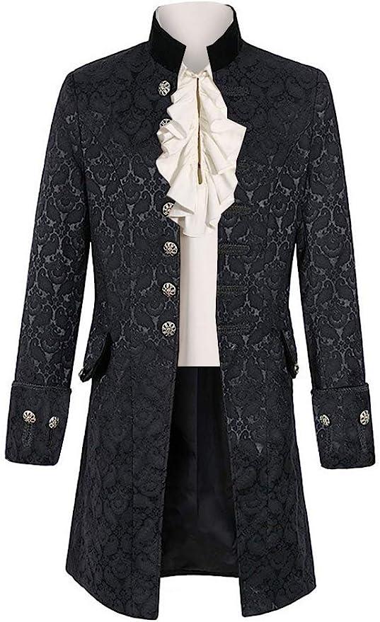 Men's Steampunk Jackets, Coats & Suits Mens Steampunk Medieval Jacket Pirate Viking Renaissance Costume Formal Tailcoat Gothic Victorian Halloween Tuxedo Coats  AT vintagedancer.com