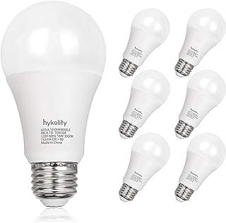 Hykolity Dimmable 100W Equivalent A19 LED Light Bulb, 1600 Lumens, 16W, 5000K Daylight, E26 Medium Base, UL Listed (6 Pack)