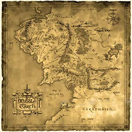 """Wo-dreams Vintage Cotton Lord of the Ring Middle Earth Map Canvas Decorative Painting (27.6""""x27.6"""")"""