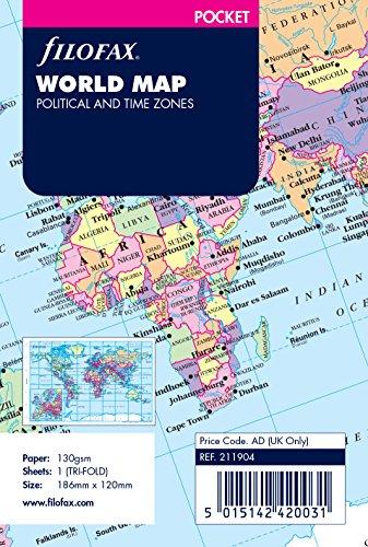 Filofax Pocket - Mapa del mundo para agenda de anillas, plegable (en inglés)