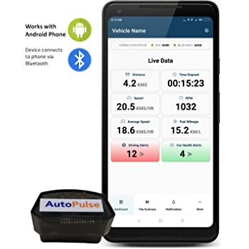AutoWiz: AutoPulse OBD Bluetooth for car (Works with Android Phone)- Trip Dashboard, Performance Stats, Driving Alerts, Engine Diagnostics