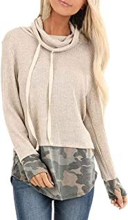 Casual Camo Print String Patchwork Loose Tunics Tops Turtleneck Long Sleeve Shirt Pullover for Women