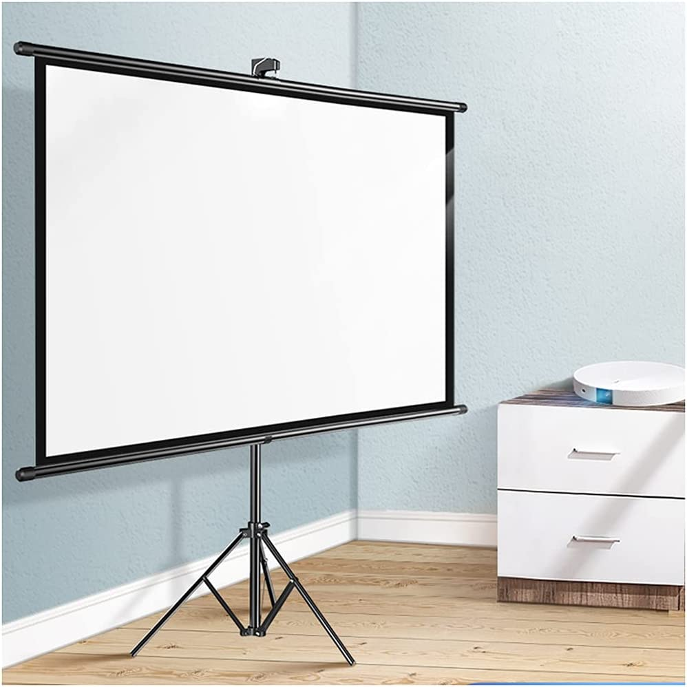 XJMF 72inch 16:9 Diagonal Tripod Projector Screen, Matte White Pull Down Projection Screen Home Theater,Foldable Portable Outdoor Movie Screen with Stand