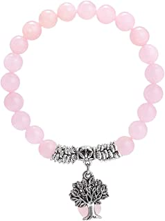 TUMBEELLUWA Beaded Bracelets Semi Precious Stone Yoga Beads Healing Crystals Tree of Life Charm Chakra Bracelet Handmade Jewelry for Women