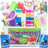 DIY Slime Supplies Kit for Girls Boys - Toy Slime Making Kit with Crystal Slime, Foam Balls, Crunchy Fishbowl Beads, Instant Snow, Glitter, Stars, Fruit Slices, Containers - Kids Toy Slime Kits