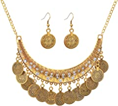 MIXIA Dancing Gypsy Jewelry Ethnic Coin Bib Necklace Drop Earring 2 Pcs Jewelry Set Women Exotic Bohemian Accessories