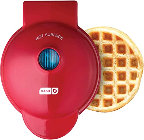 Dash DMW001RD Machine for Individual, Paninis, Hash Browns, & other Mini waffle maker, 4 inch, Red