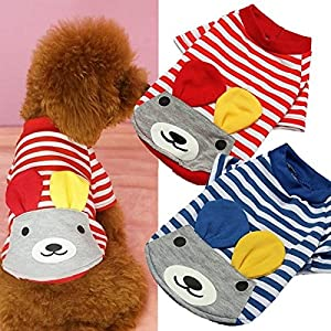 Bazaar Summer Pet Puppy Dog Shirt Striped Cotton T-shirt Bear Apparel