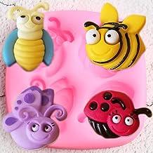 VIOYO Insectos 3D Insectos Abeja Molde de Silicona Mariquita Mariposa Fondant MoldesHerramientas de decoración de Pasteles DIY Arcilla de Caramelo Moldes de Pasta de Chocolate