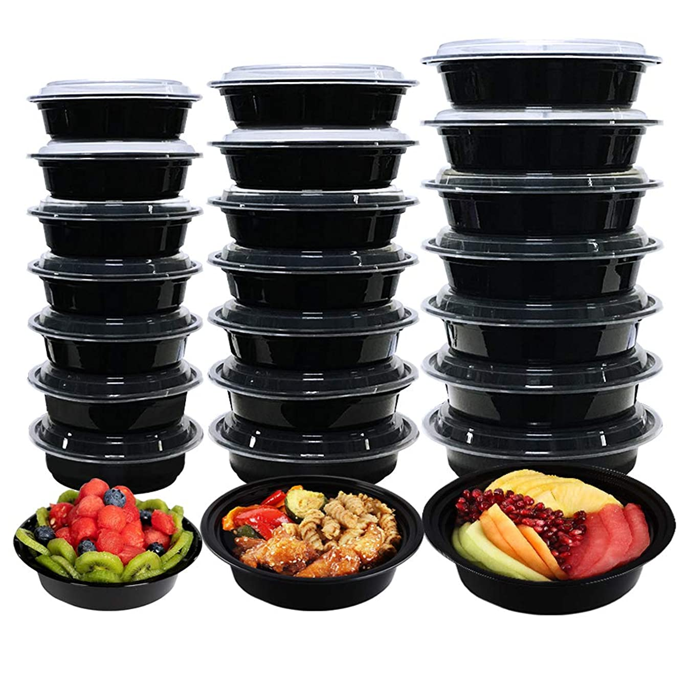 Happlee 24 Pack Meal Prep Containers 16 oz, 24 oz, 37 oz Plastic Reusable Stackable Food Containers with Lids Microwave Dishwasher Freezer Safe