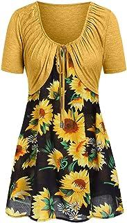 MURTIAL Women's Short Sleeve Bow Knot Bandage Top Sunflower Print Mini Dress Suits T-Shirt