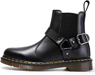 Dr. Martin unisex boots Metal buckle Chelsea boots couple leather boots elastic black short boots personalized style boots simple non-slip ankle boots outdoor wear-resistant high-top boots
