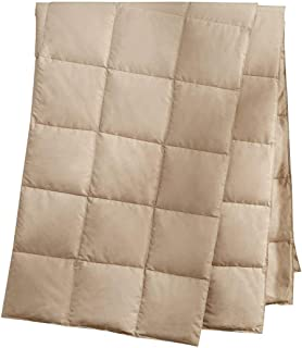 puredown® Natural Down Packable Throw Sport Blanket for Indoor Home and Outdoor use Peach Skin Fabric for Downproof Khaki 50