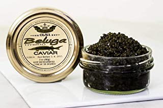 Beluga Sturgeon Hybrid Caviar, Rated Top Black Caviar in the World, Exclusively from OLMA - 2 Ounce - Overnight Delivery