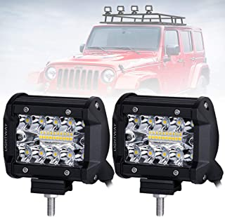 ELE KING120W Led Light Pod Spot Flood Combo Off-road Light Driving Fog Light Reverse Light 12000LM IP68 Waterproof 6000K Pickup,Car for Truck ATV 7 LED Light Bar SUV,Boat,3 years Warranty,2PCS