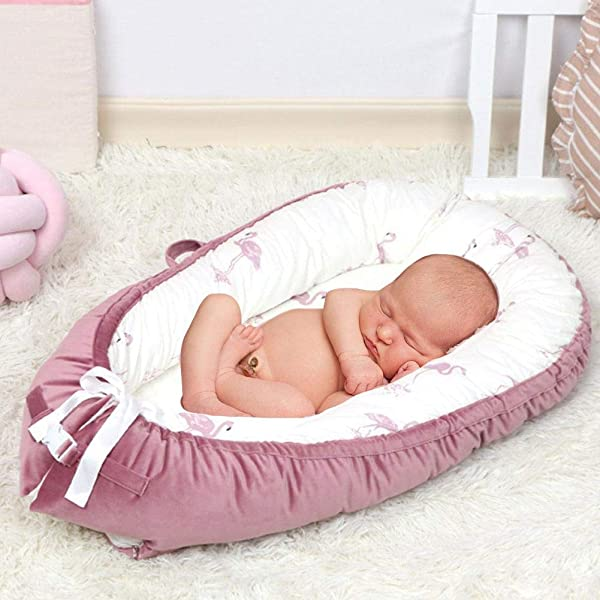 Zaote Newborn Lounger Portable Snuggle Bed Baby Bed Mattress Newborn Uterus Crib Flannel Cotton Velvet Detachable Comfortable Sleep Blanket Baby Nest