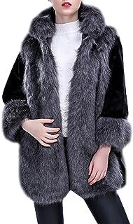 Chaqueta Abrigo De Invierno De Pelo Artificial con Capucha De Manga Larga Parkas Outwear para Mujer