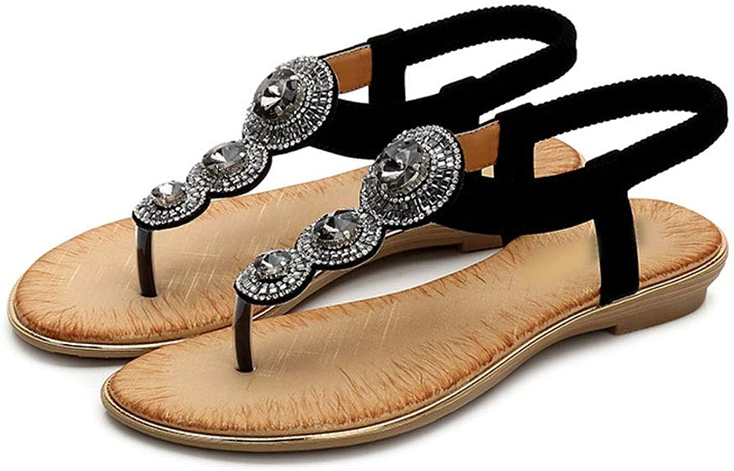 WENNEW Bohemian Rhinestone Sandals Beach shoes Effortless Wild Toe Flavourless shoes