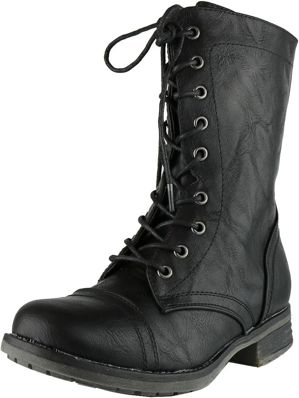 Cambridge Select Women's Combat Military Mid-Calf Lace Up Inside Zipper Boot